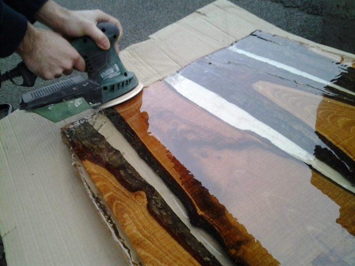 Обработка столешницы шлифмашинкой