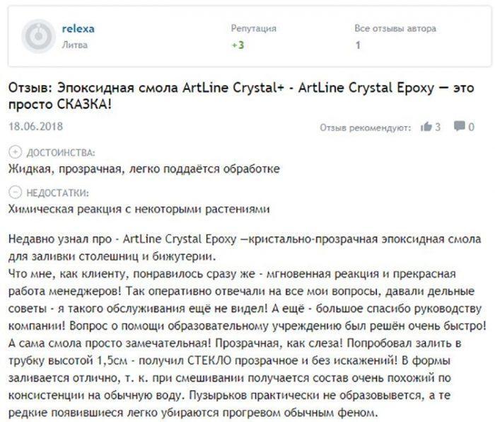 Отзыв об эпоксидной смоле ArtLine Crystal+ с сайта Отзовик