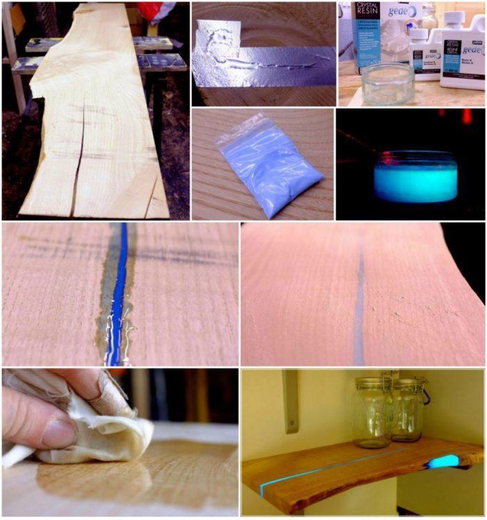 Пример использования люминесцентного порошка