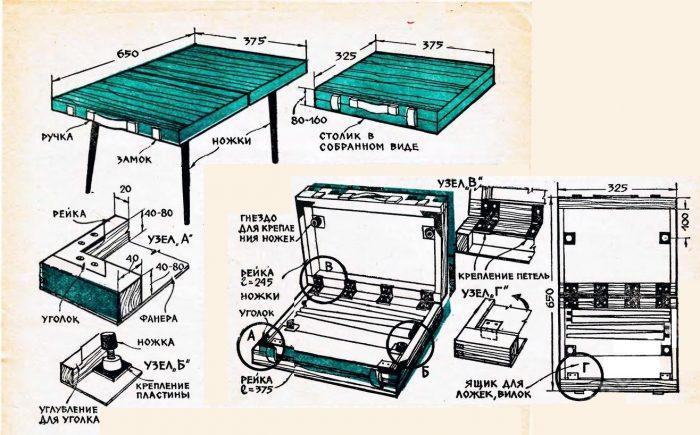 Чертеж складного стола для пикника
