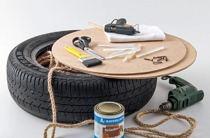 Инструменты и материалы для изготовления самого простого пуфика из одной покрышки