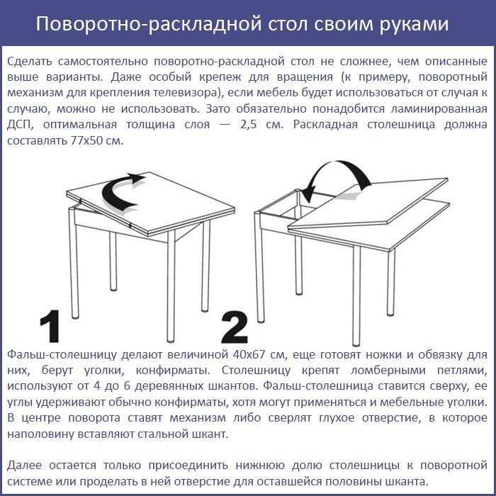 Поворотно-раскладной стол своим руками