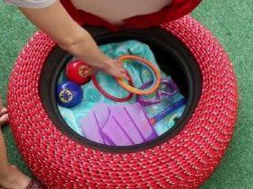 Пространство внутри пуфика из покрышки может быть использовано для хранения разных полезных вещей
