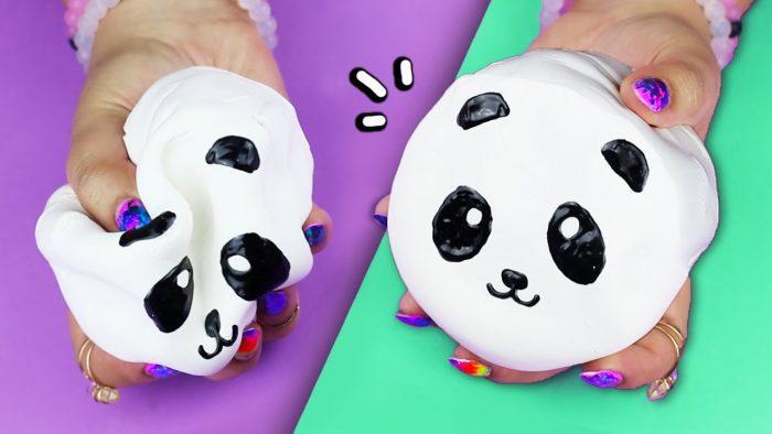 Сквиши-панда из губки своими руками