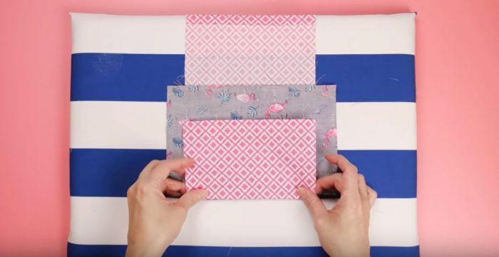 Заворачиваются малые отрезки ткани