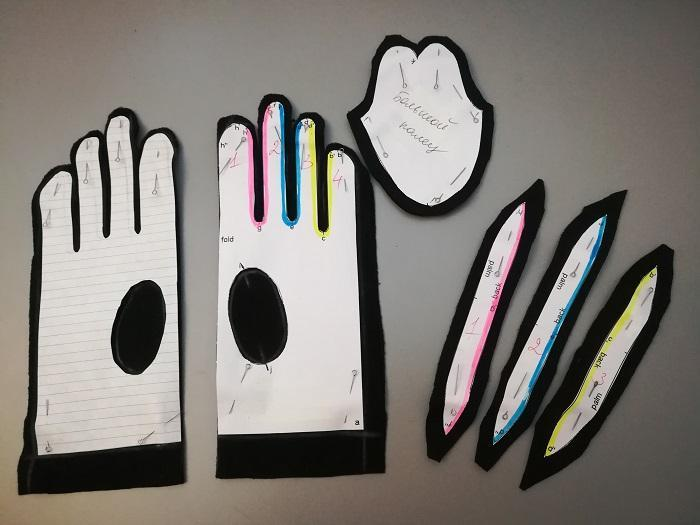 Детали выкройки будущих перчаток