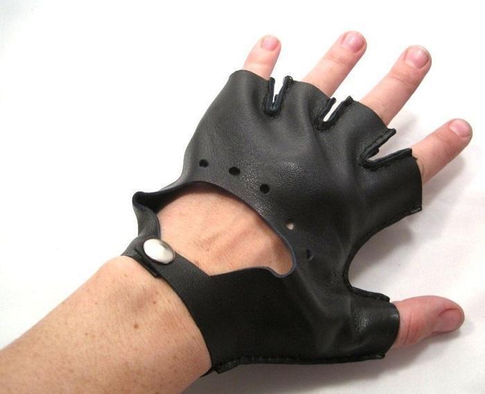 Короткие велосипедные перчатки (митенки) из кожи