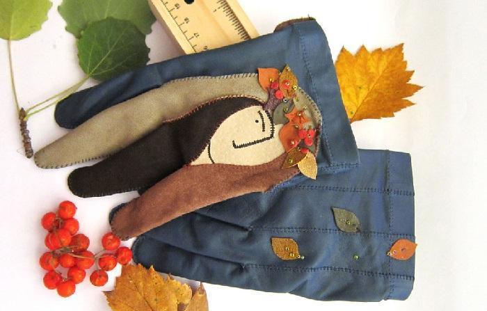 Кожаные перчатки с асимметричным рисунком