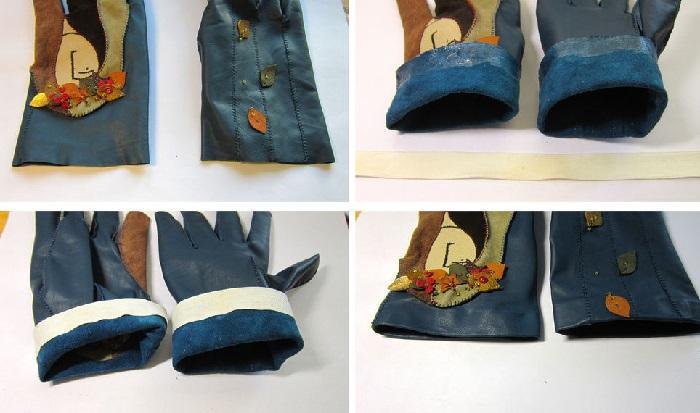 Обработка краев перчаток