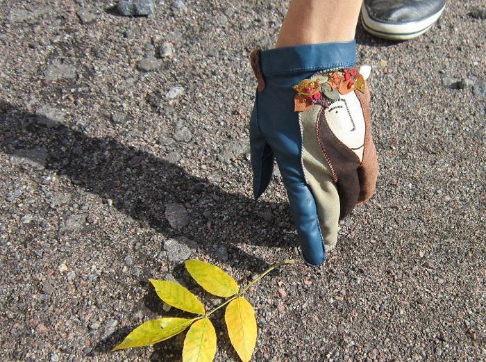 Самодельные перчатки с асимметричным рисунком
