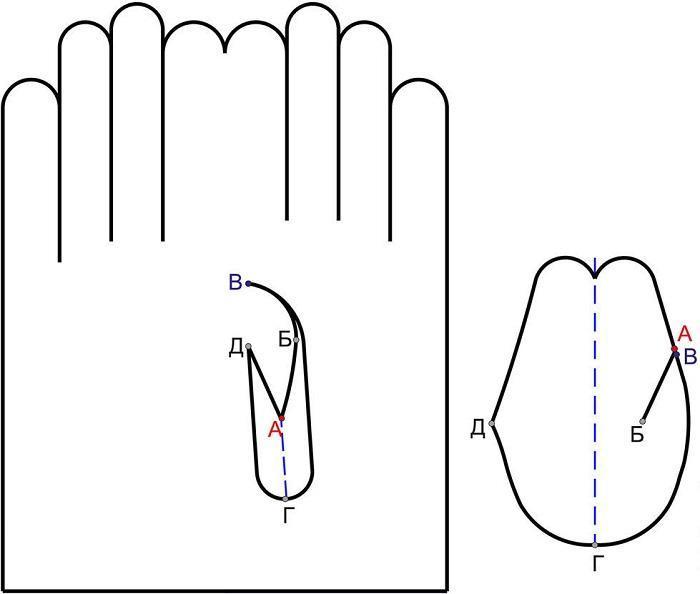 Схема вшития большого пальца