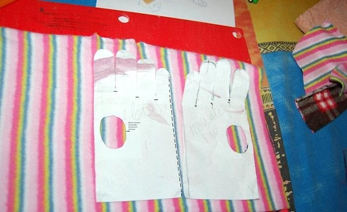 Выкройка детских зимних перчаток