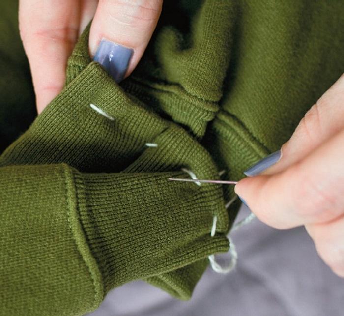 Сшиваются рукава