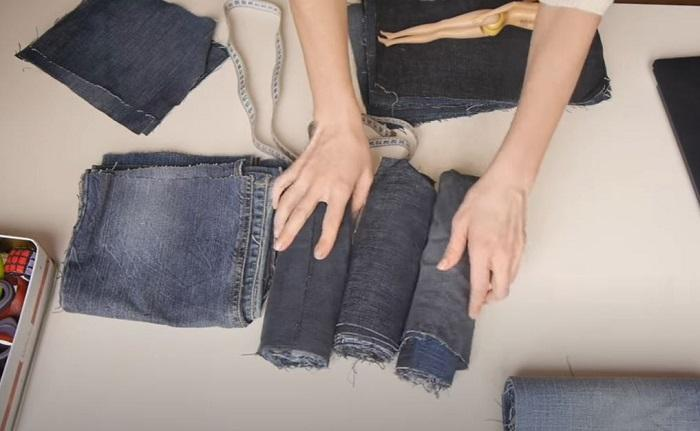 Отрезки джинсовой ткани