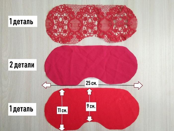 Вырезаны детали из разных тканей
