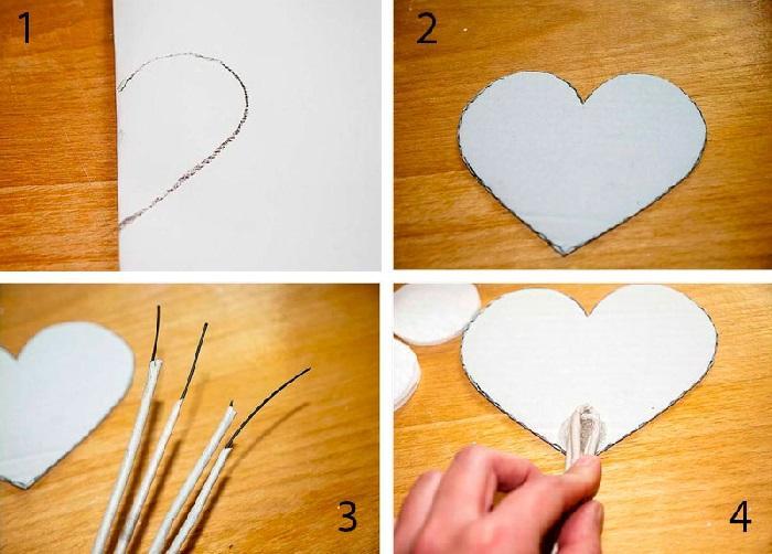Из картона нужно вырезать 2 сердца, проволоку обернуть бумагой