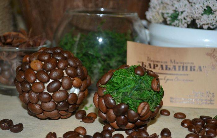 Кофейный топиарий с натуральным мхом