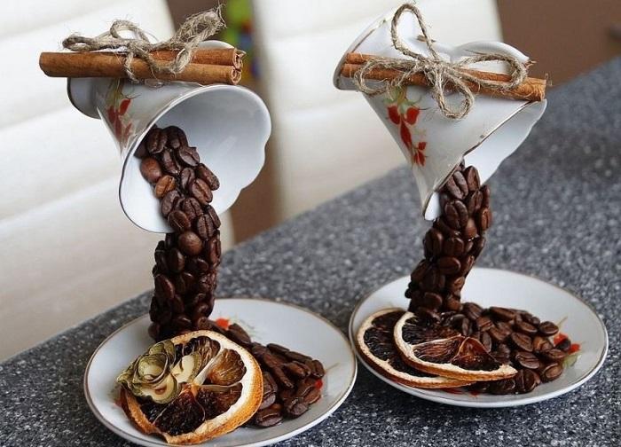 Кофейный топиарий в виде парящей кружки