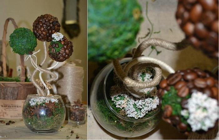 Украшаем вазочку бадьяном, кофейными зернами и сухоцветами, которые окажутся под рукой