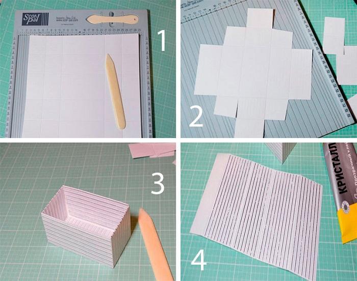 Изготовление коробки из скрапбумаги