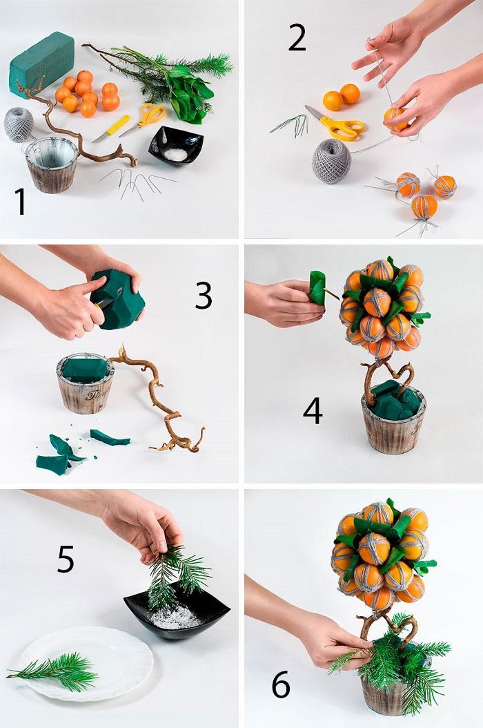 Как сделать новогодний топиарий из мандаринов