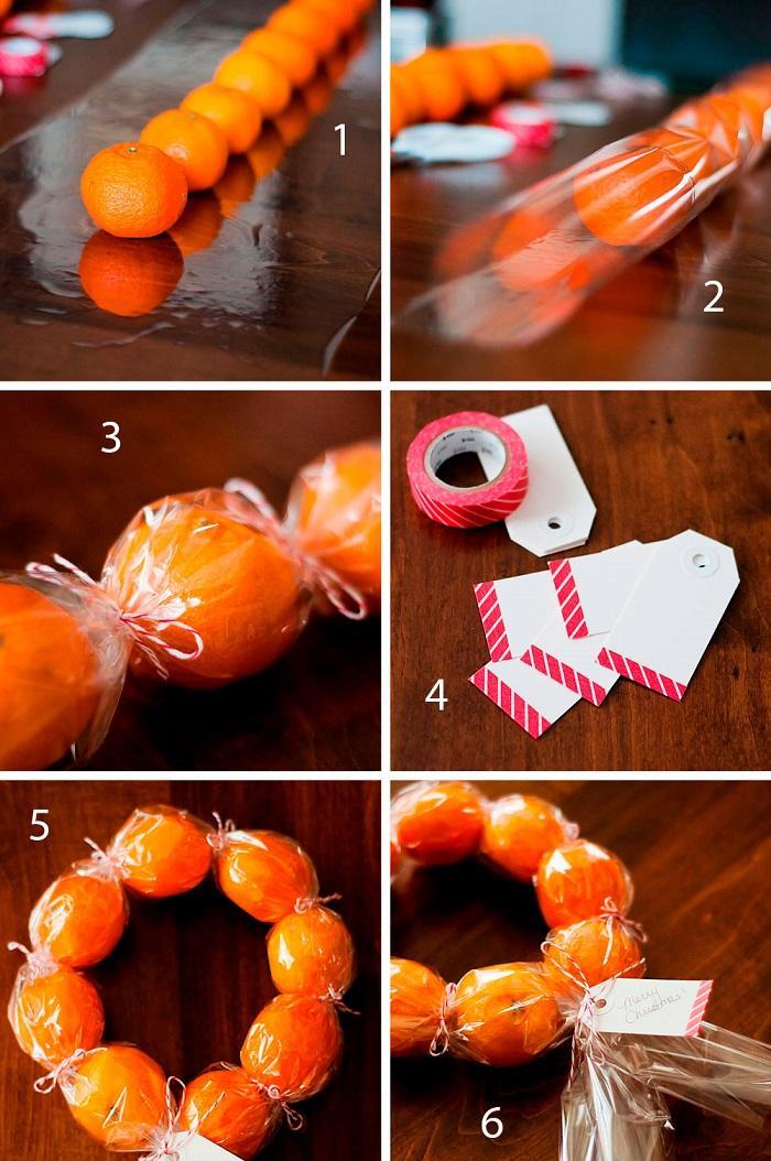 Как сделать венок из мандаринов