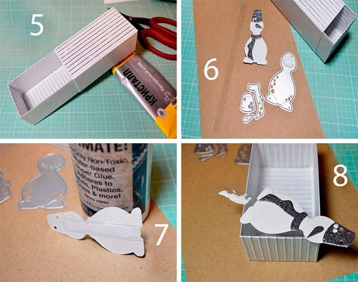 Крышка коробочки, подготовка снеговичка