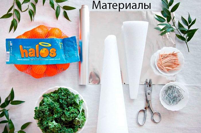 Материалы для елки из мандаринов