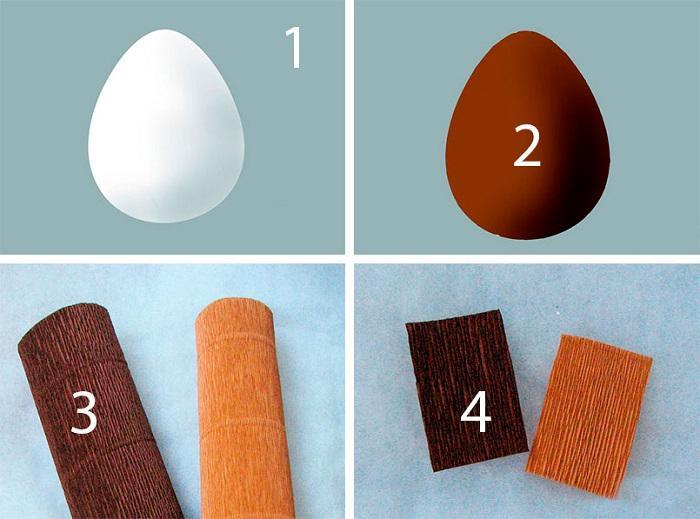Оклеивание яйца, гофрированная бумага