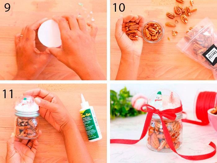 Приклейте круг, насыпьте орешки