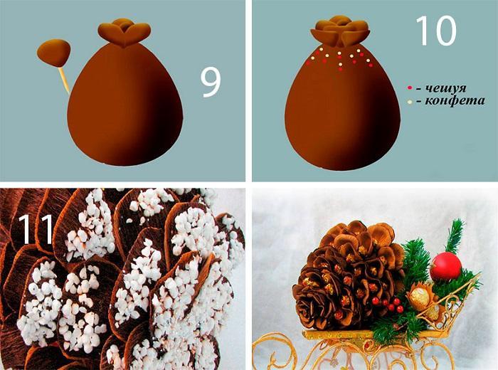 Выложите ряды чешуек вместе с конфетами