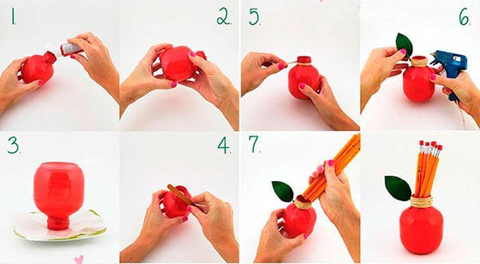 Изготовление карандашницы в виде яблока