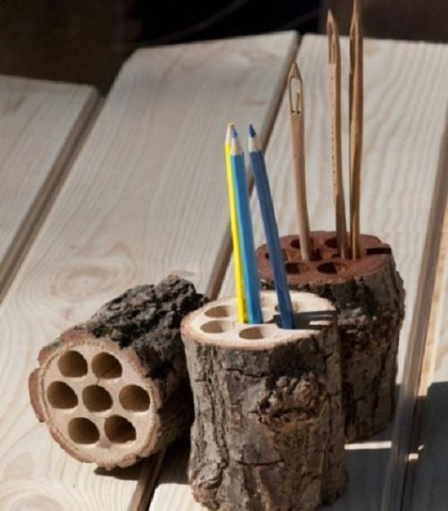 Карандашницы из бревна