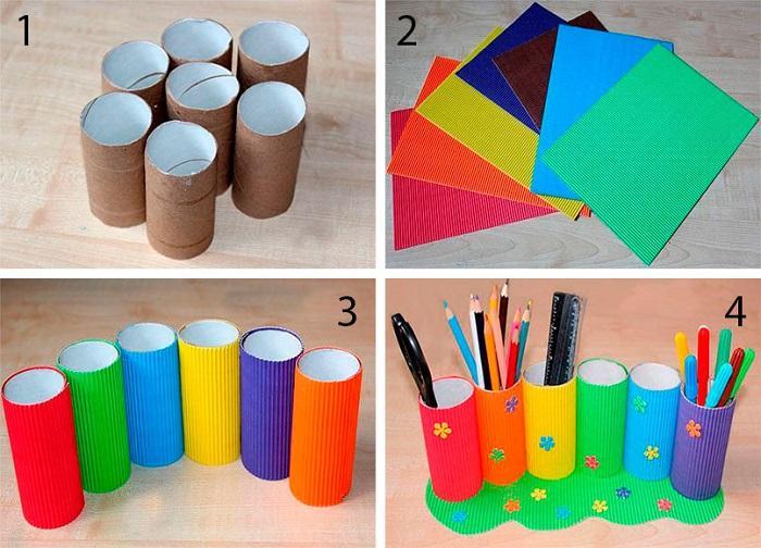 Создание карандашницы из втулок и гофрированной бумаги
