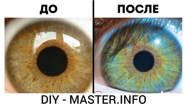 как сделать голубые глаза